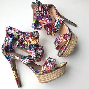 Zigi Soho Khloe Floral Bow Platform Stilettos 8.5
